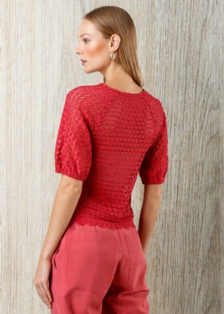 BLUSA HIT RENDA MG CURTA BUFANTE